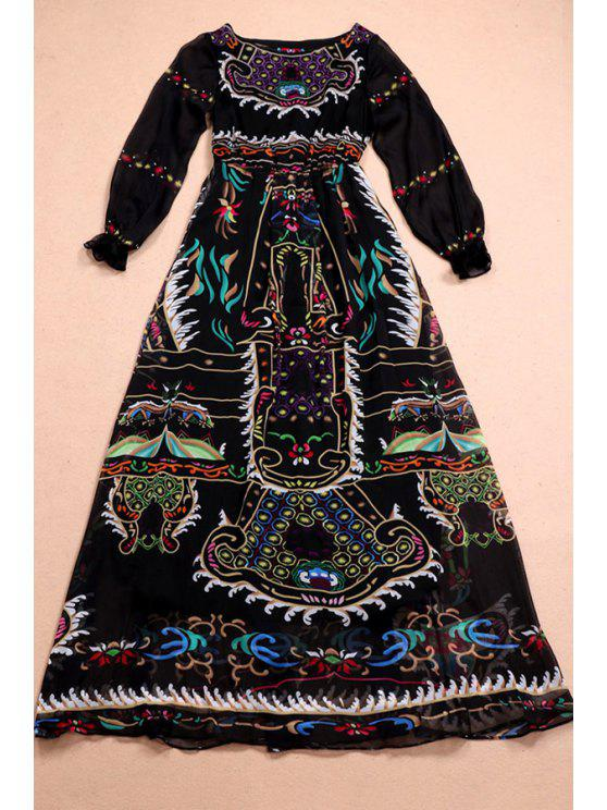 unique Waisted Retro Print Round Collar Long Sleeves Maxi Dress - BLACK S