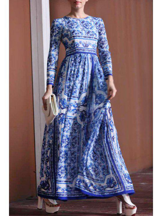 women Blue Vintage Print Long Sleeve Maxi Dress - BLUE S