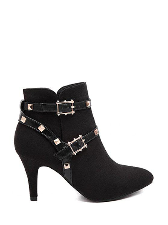 lady Rivets Pointed Toe Suede Short Boots - BLACK 34