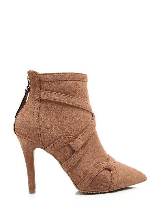 hot Criss-Cross Suede Pointed Toe Ankle Boots - BROWN 35