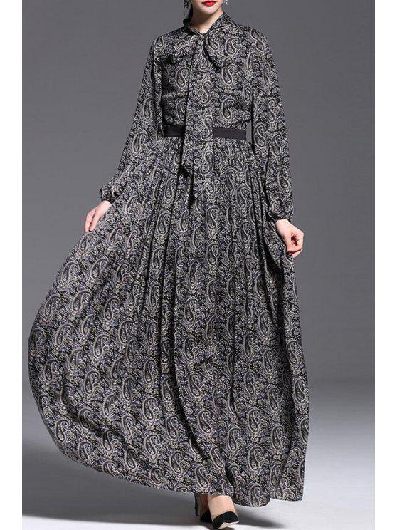 shop Cashew Nut Print Waisted Puff Sleeves Maxi Dress - BLACK S