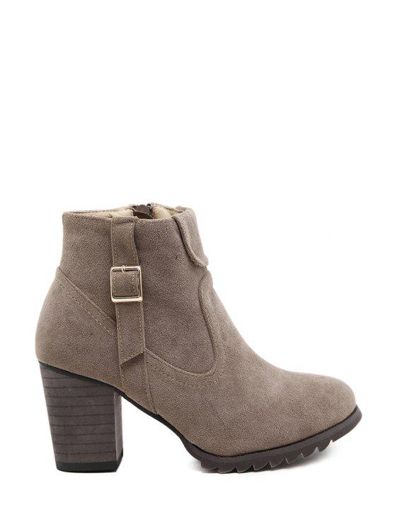 unique Suede Buckle Chunky Heel Ankle Boots - KHAKI 35
