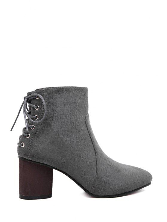 online Criss-Cross Suede Chunky Heel Short Boots - GRAY 35