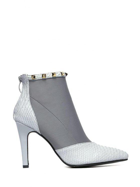 unique Splicing Pointed Toe Rivet Short Boots - GRAY 35