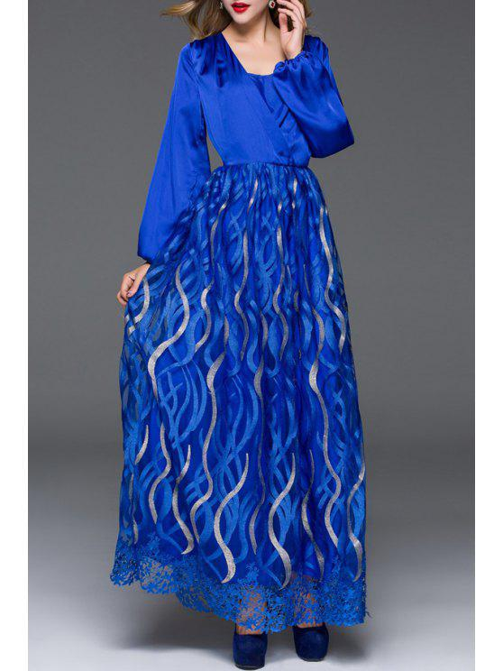 fashion Retro Embroidery Spliced Hollow Out Square Neck Maxi Dress - BLUE S