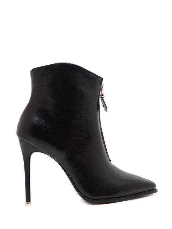 womens Black Zipper Pointed Toe Short Boots - BLACK 35