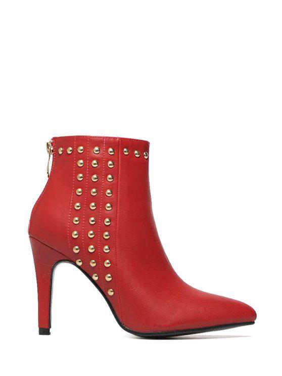 best Rivet Solid Color Pointed Toe Anklet Boots - RED 35