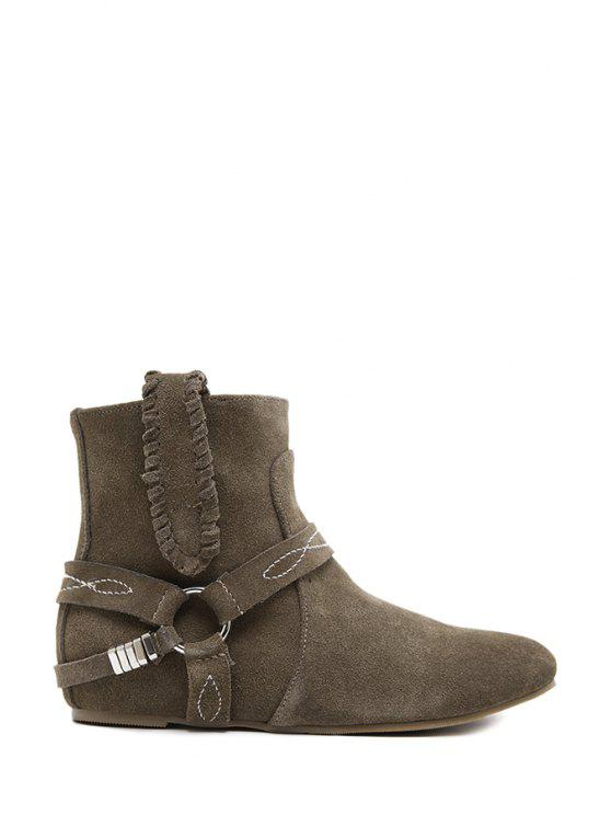 affordable Metal Suede Stitching Short Boots - KHAKI 35