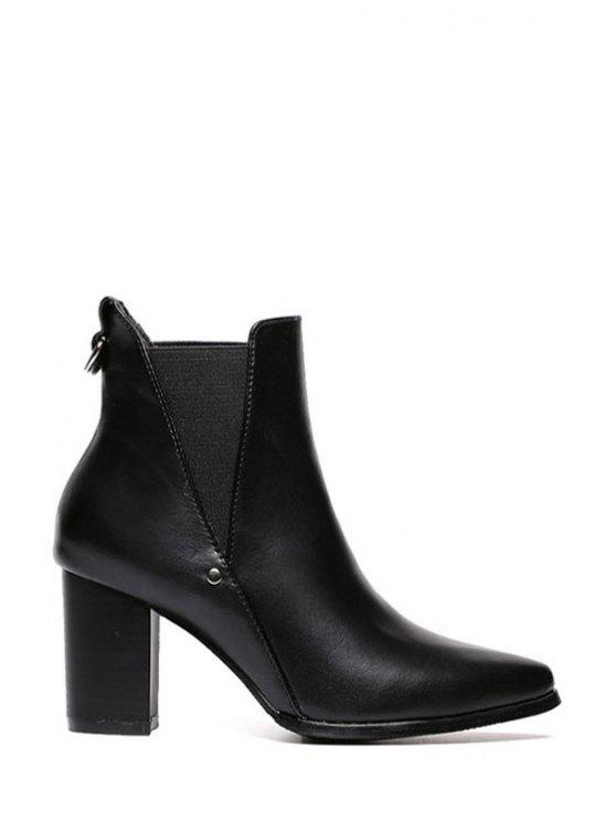 women Elastic Black Pointed Toe Short Boots - BLACK 35