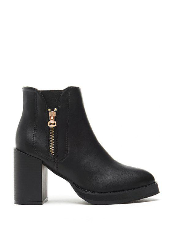 lady Chunky Heel Solid Color Zippers Short Boots - BLACK 36