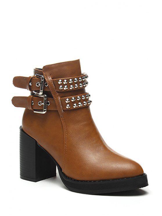 hot Rivet Buckle Chunky Heel Short Boots - BROWN 35