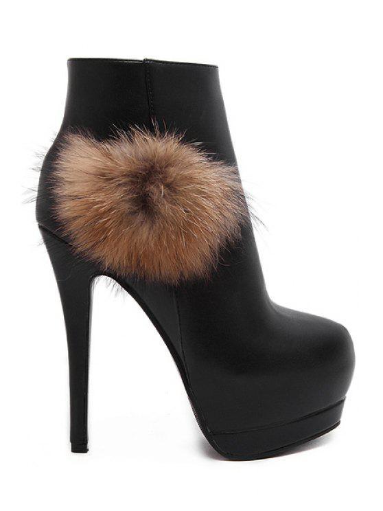 unique Faux Fur Platform High Heel Boots - BLACK 34