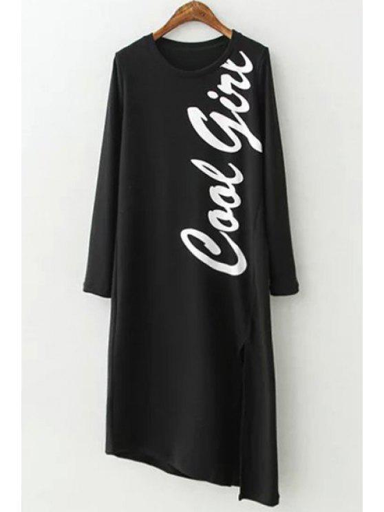 shops Letter Print Irregular Hem Long Sleeves Dress - BLACK S