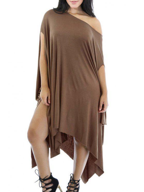 fashion One-Shoulder Asymmetrical Loose Dress - KHAKI ONE SIZE(FIT SIZE XS TO M)