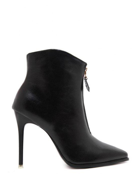 womens Pointed Toe Zipper Black High Heel Boots - BLACK 35
