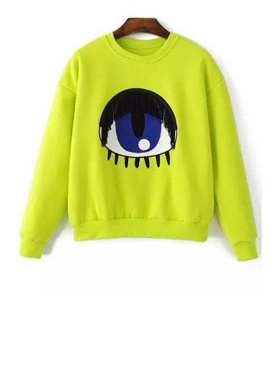 sale Cartoon Eye Embroidery Print Long SleevesSweatshirt - YELLOW ONE SIZE(FIT SIZE XS TO M)