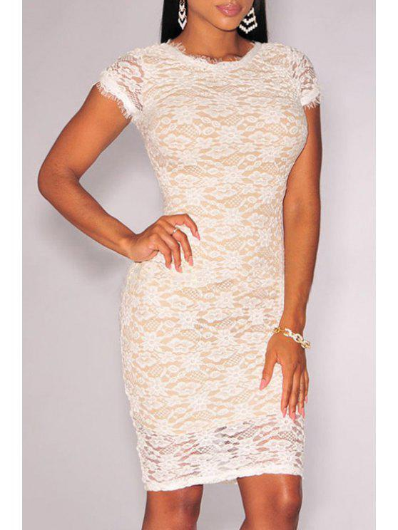 fashion Crochet Flower Bodycon Lace Dress - WHITE M
