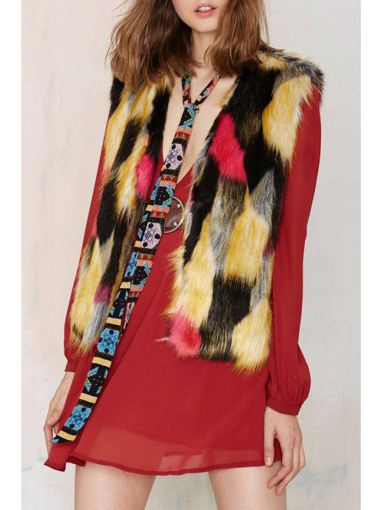 outfits Colorful Faux Fur Collarless Waistcoat - AS THE PICTURE L