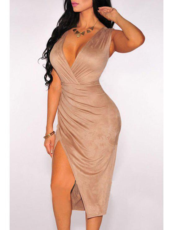 best Sleeveless Ruched Slit Suede Dress - YELLOWISH PINK ONE SIZE(FIT SIZE XS TO M)