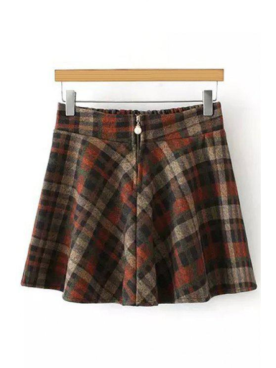 affordable Plaid Faux Pearl Clasps Woolen Elastic Waist Skirt - KHAKI ONE SIZE(FIT SIZE XS TO M)