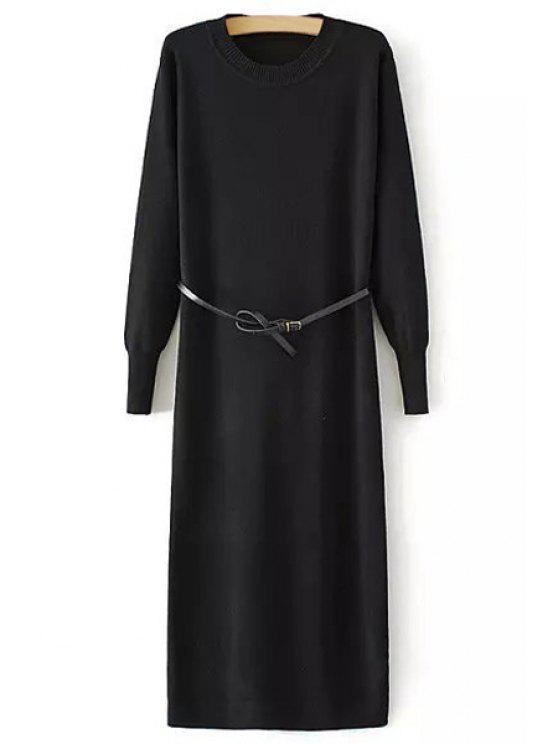 women Solid Color Back Slit Long Sleeves Sweater Dress - BLACK ONE SIZE(FIT SIZE XS TO M)
