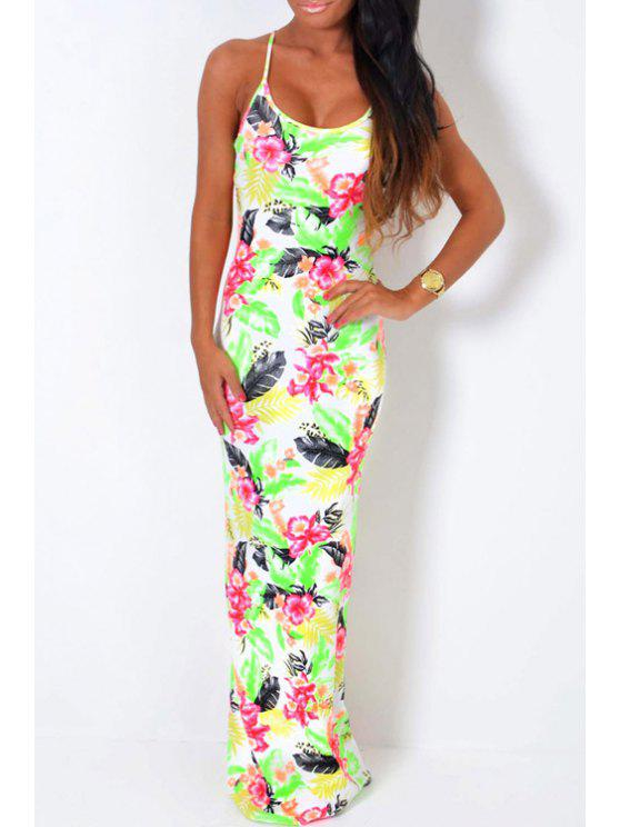 shop Sleeveless Tropical Flower Maxi Dress - WHITE M