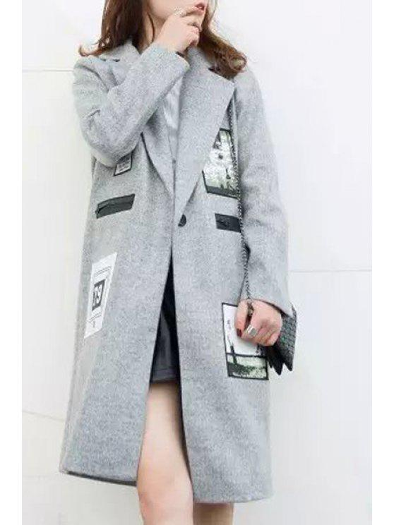 best Applique Patch Design Zipper Embellished Turn-Down Collar Coat - GRAY S