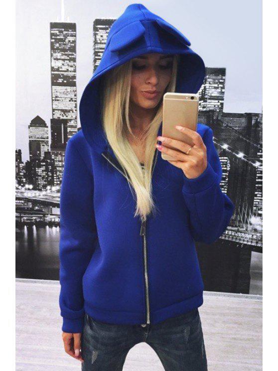 trendy Zip Up Bunny Ear Solid Color Hoodie - BLUE M