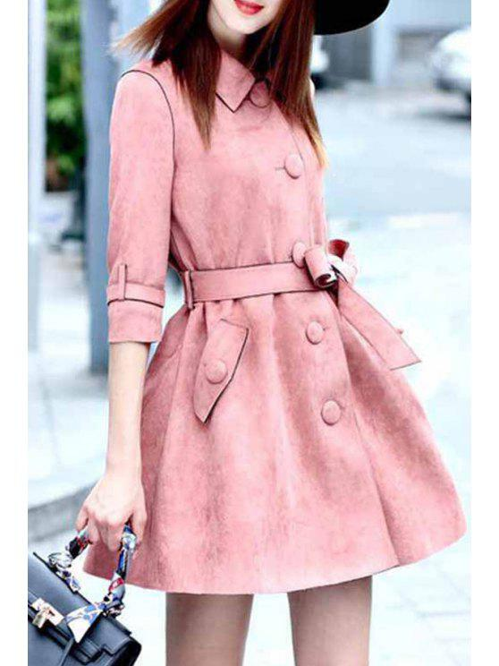 outfit Faux Suede Turn Down Collar Half Sleeve Trench Coat - PINK M