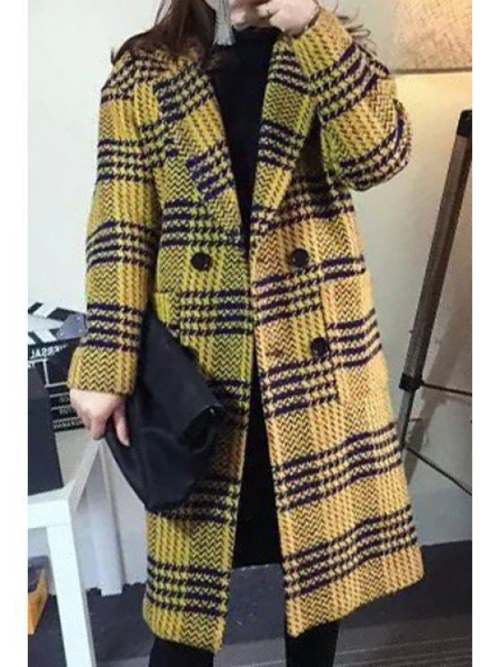 fancy Houndstooth Turn-Down Collar Long Sleeves Woolen Peacoat - YELLOW M