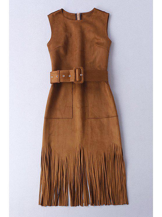 fashion Faux Suede Tassels Sleeveless Dress - COFFEE S
