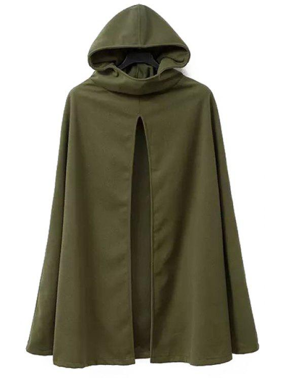 outfits Hooded Cape Design Army Green Coat - ARMY GREEN M