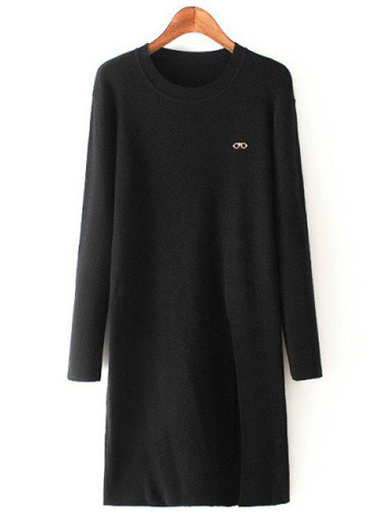 lady Eye Print Front Slit Round Collar Long Sleeves Sweater - BLACK ONE SIZE(FIT SIZE XS TO M)