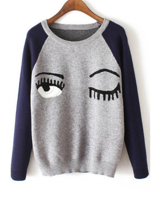 hot Eye Embroidery Print Round Collar Long Sleeves Sweater - GRAY ONE SIZE(FIT SIZE XS TO M)