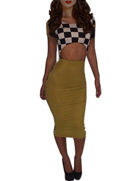 chic Plaid Bare Midriff Bodycon Dress - BLACK AND WHITE S