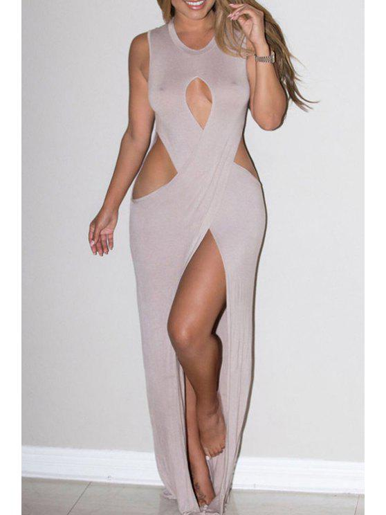 women's Cut Out Jewel Neck Sleeveless Maxi Dress - KHAKI ONE SIZE(FIT SIZE XS TO M)