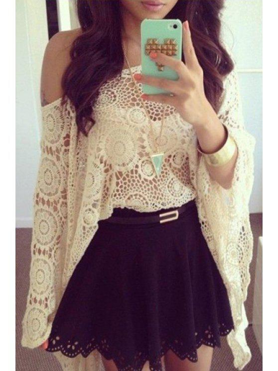 outfit Lace Asymmetric Blouse and Sexy Mini Skirt Twinset - WHITE AND BLACK S