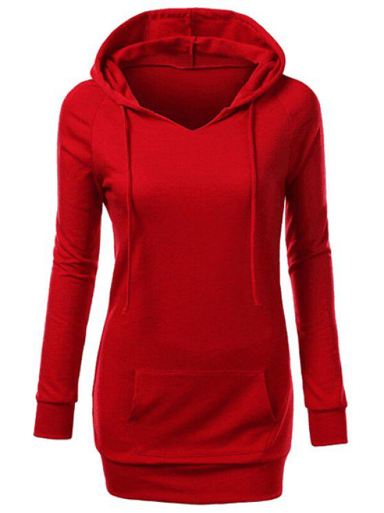 latest Hooded Front Pocket Pullover Hoodie - RED L