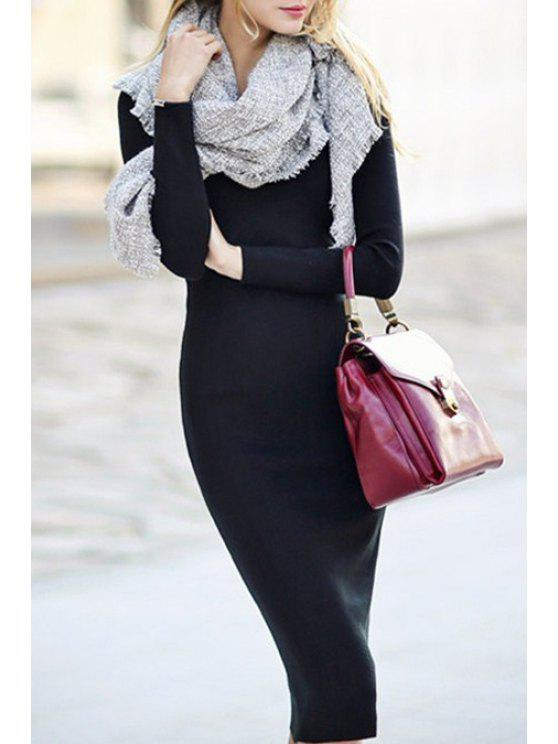 women Long Sleeve Black Bodycon Dress - BLACK ONE SIZE(FIT SIZE XS TO M)