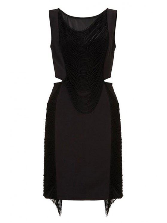 affordable Black Tassels Sleeveless Mini Dress - BLACK M