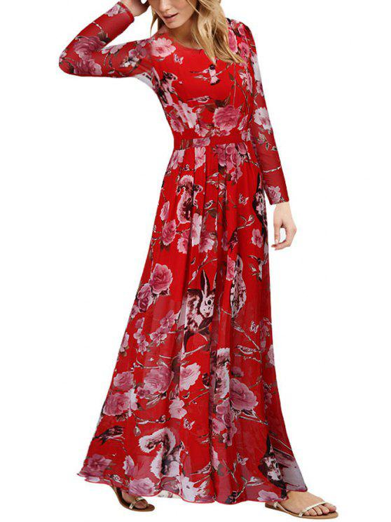 trendy Long Sleeve Floor-Length Floral Dress - RED S