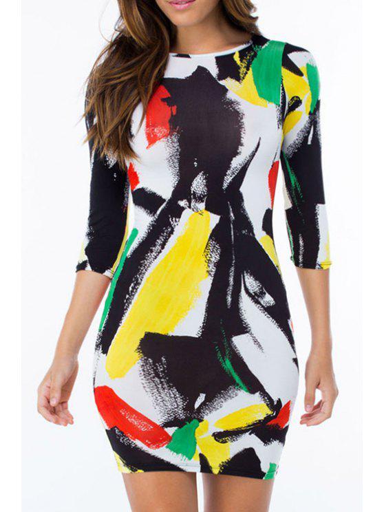 hot Paint Print Round Neck 3/4 Sleeve Dress - COLORMIX M
