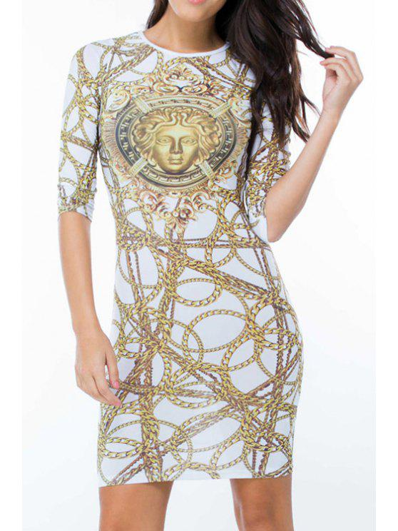 outfits Chains Print Round Neck 3/4 Sleeve Dress - AS THE PICTURE M
