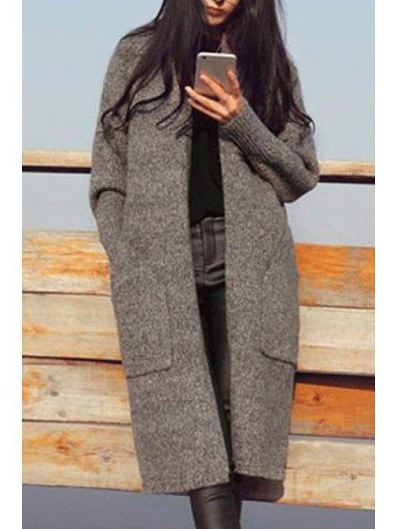 sale Pure Color Long Sleeves Long Cardigan - GRAY ONE SIZE(FIT SIZE XS TO M)