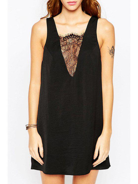 shops See-Through Plunging Neck Lace Spliced Sleeveless Dress - BLACK XS