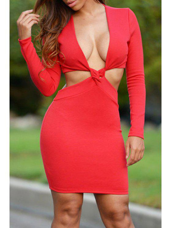 shops Cut Out Plunging Neck Long Sleeve Dress - RED ONE SIZE(FIT SIZE XS TO M)