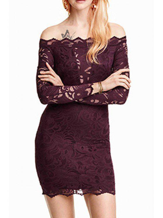 affordable Solid Color Lace Off The Shoulder Long Sleeves Dress - WINE RED XL