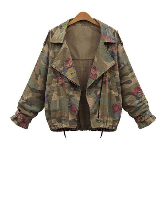 women Camouflage Print Lapel Long Sleeve Coat - ARMY GREEN L