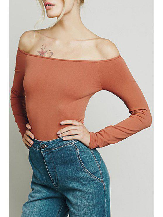 trendy Solid Color Off The Shoulder Sexy Bodycon T-Shirt - LIGHT RED XS
