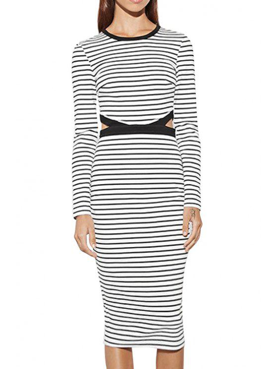 fashion Striped Cut Out Round Collar Long Sleeves Dress - WHITE AND BLACK XS